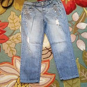 Boyfriend Blue Jeans w/ Bling